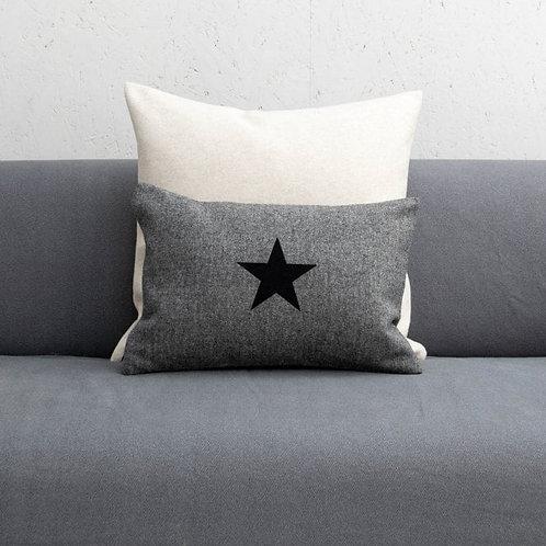 Charcoal with Black Star Print Oblong Felt Cushion