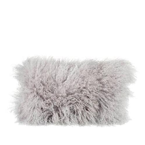 Tibetan Sheepskin Rectangle Cushion In Light Grey