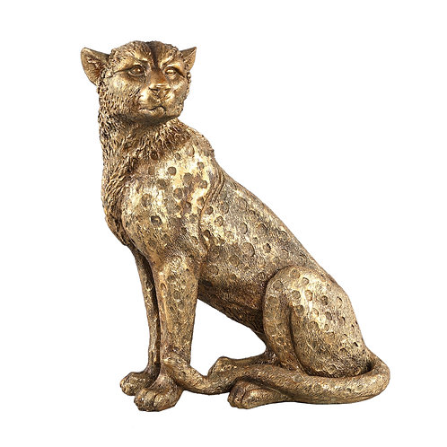 Animal Gold poly sitting leopard statue