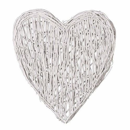Extra Large Coastal White Wicker Love Heart (As seen in Mrs Hinch Home)