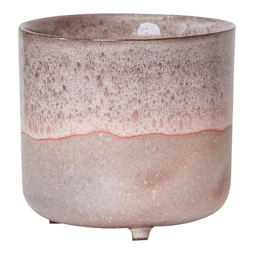 Kacie Pink glazed terracotta pot on foot round L