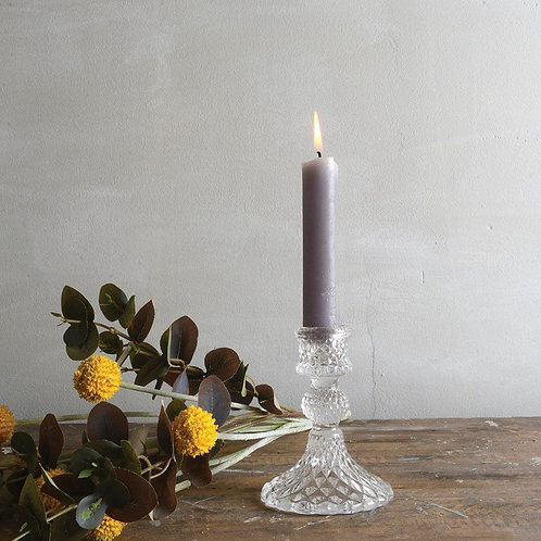 Glass Candlestick Harlequin Clear