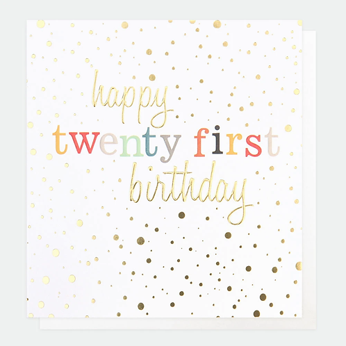Gold Confetti 21st Birthday Card