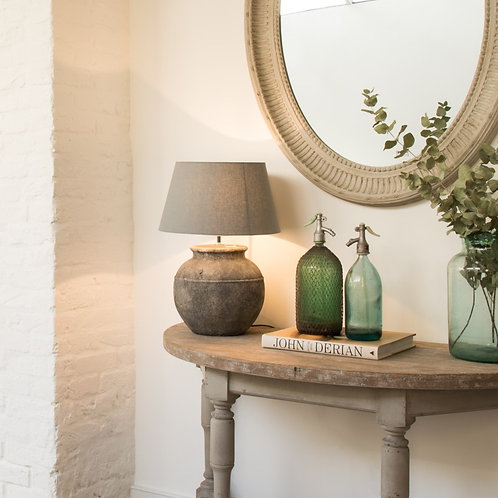 Birkdale Stone Dark Grey Lamp with Grey Shade