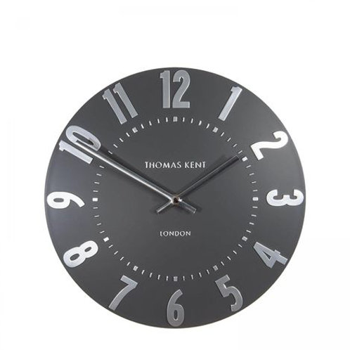 """12"""" Mulberry Wall Clock Graphite Silver"""