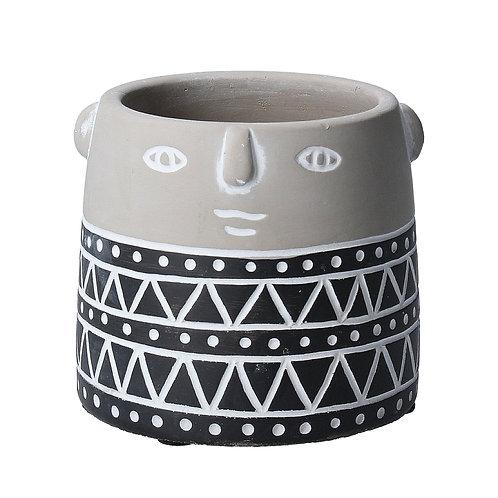 Black Geo Face Stone Effect Mini Pot Cover