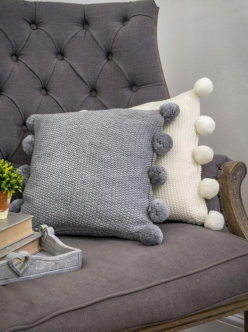 Grey Pom Pom Cushion