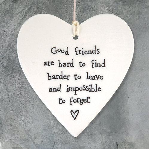 Porcelain round heart-Good friends