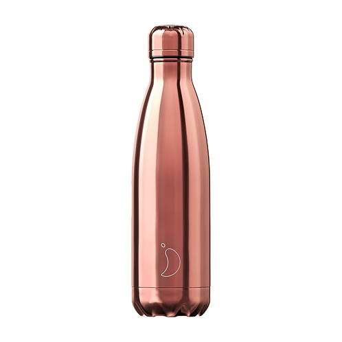 Chrome Rose Gold 500ml Chilly's Water Bottle