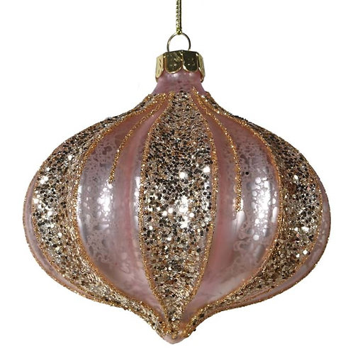 Pink & Gold Ribbed Bauble