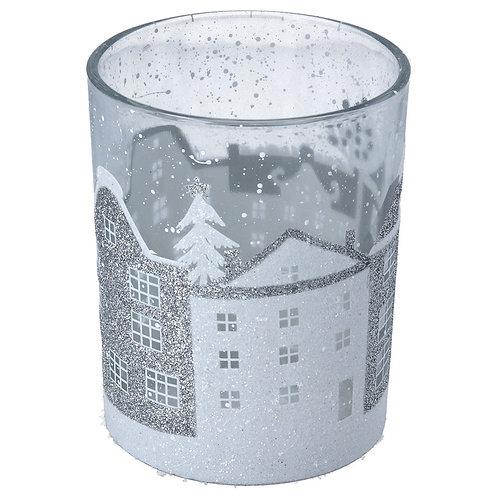 Clear/Silver White Houses Glass Tea Light Holder