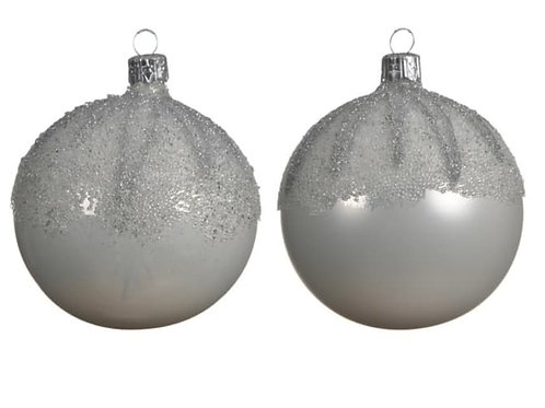 Set of Two White/Silver Glass Baubles