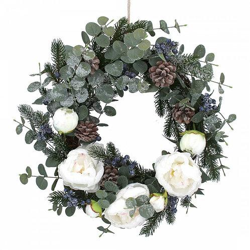 Fir Eucalyptus/White Peony Flower Wreath
