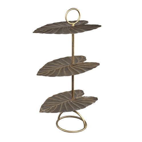 Salient Gold iron etagere 3 store leaf