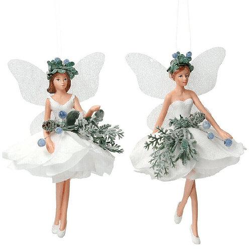 Gisela Graham White Eucalyptus Fairy Hanging Christmas Decoration - Choice of 2