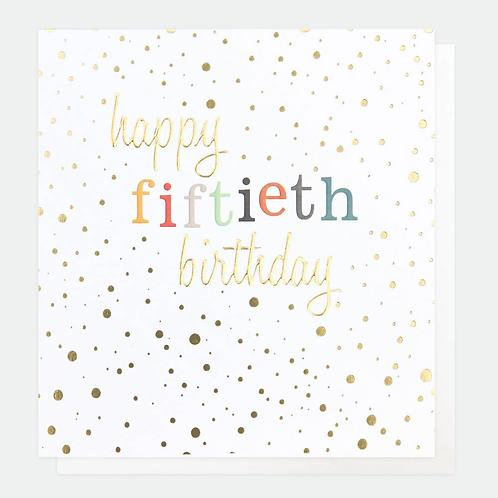 Gold Confetti 50th Birthday Card