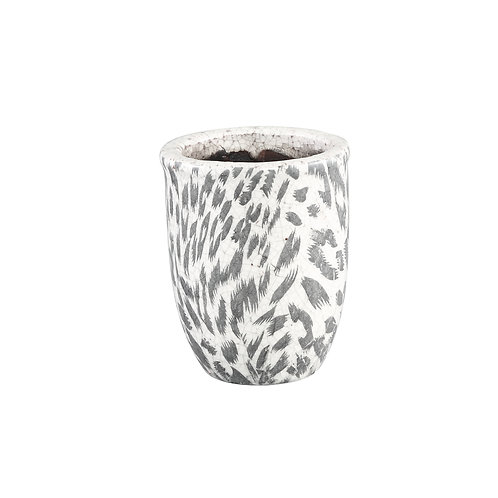 Pantera White glazed ceramic pot round S