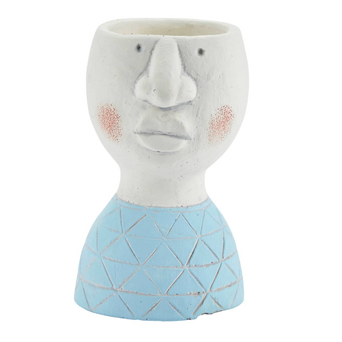 Concrete Flowerpot Face with Light Blue Shirt