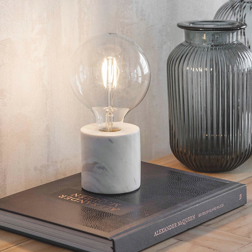 Marble Table Lamp in White