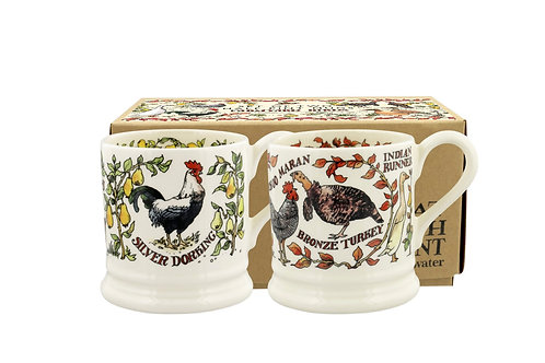 Farmyard Birds Set Of 2 1/2 Pint Mugs Boxed