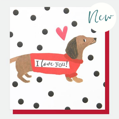 Sausage Dog I Love You Valentines Day Card