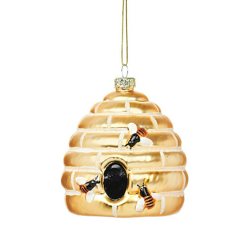 Golden Beehive Shaped Glass Hanging Decoration