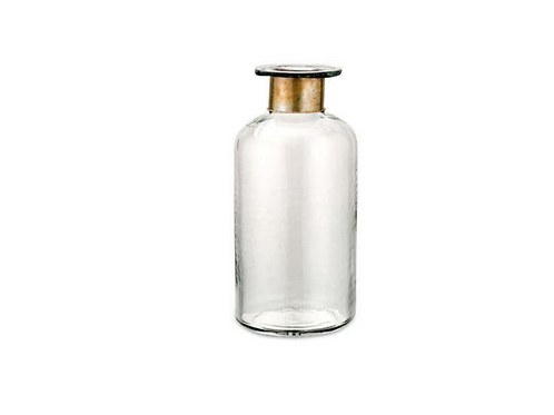 Clear Glass & Antique Brass Hammered Bottle - Small