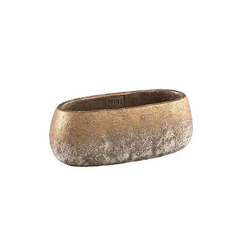 Jae Gold cement rough pot oval XS