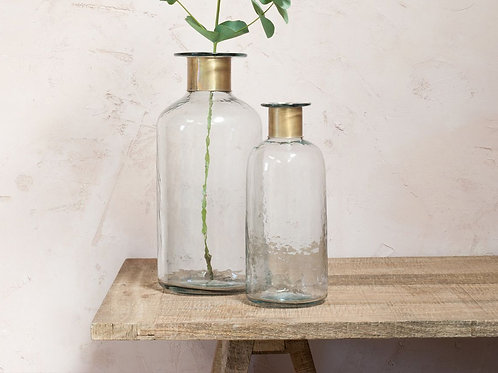 Clear Glass & Antique Brass Hammered Bottle - Large