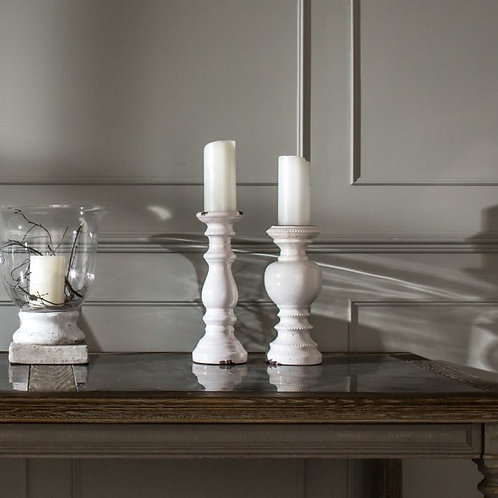 Birkdale Glazed Stone Candlestick