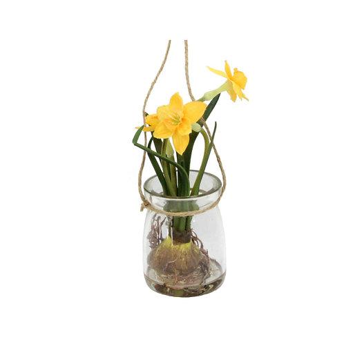 Flower in Glass Jar Orn16cm - Daffodil