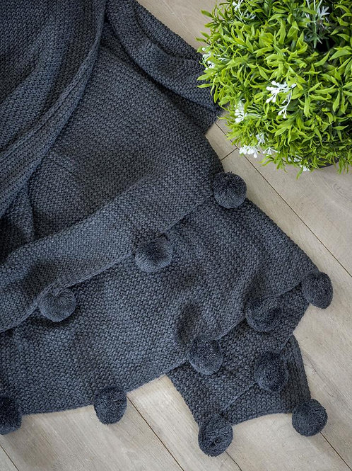 Charcoal Pom Pom Throw