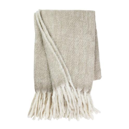 Khaki (Light Grey)  Herringbone Mohair Throw