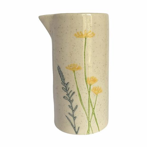 Yellow Daisy & Lavender Artisan Ceramic Milk Jug