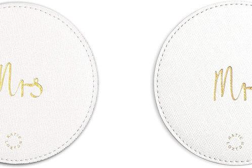 Katie Loxton - Coasters x 2 - Mr/Mrs - Metallic White