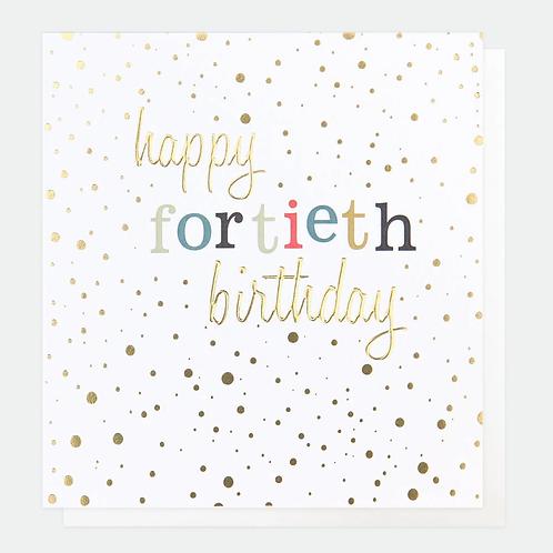 Gold Confetti 40th Birthday Card