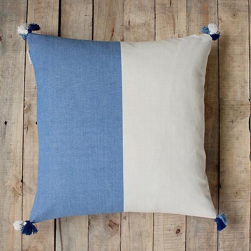 Two Tone Blue/Beige Cushion