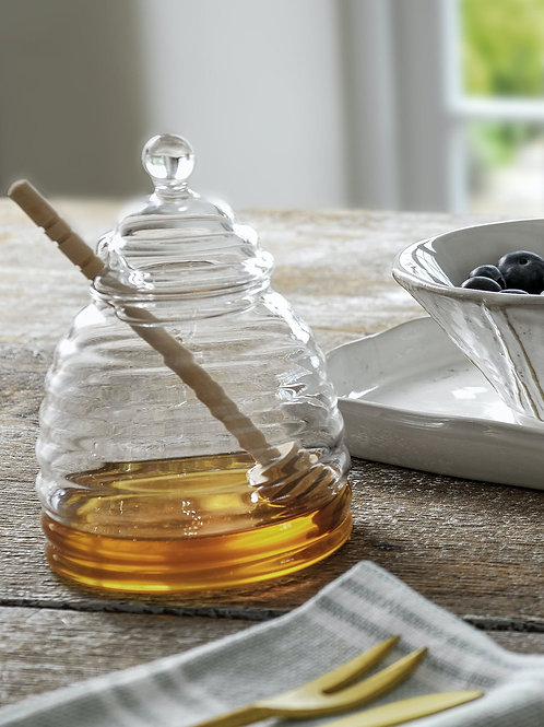Glass Honey Pot with Wooden Dibber