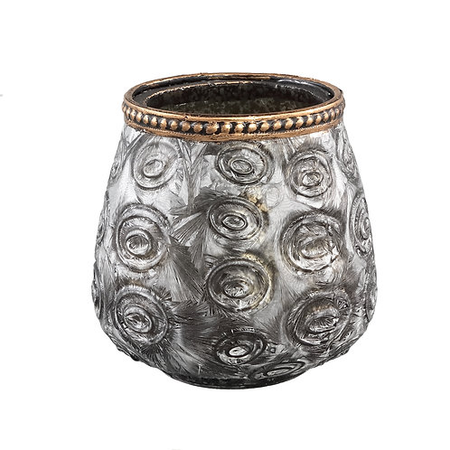 Vieve Glass silver tealight circle votive round