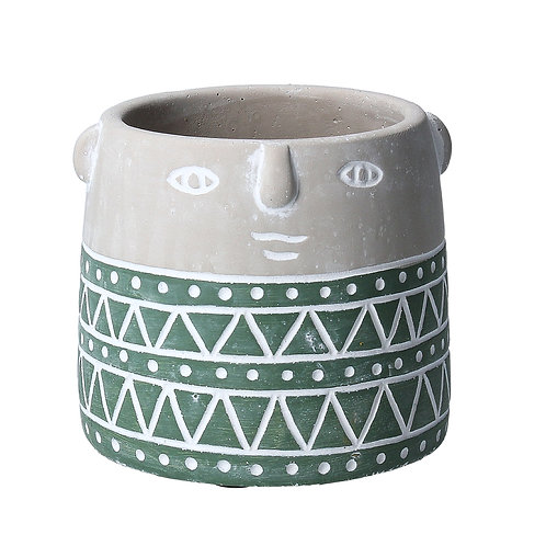 Green Geo Face Stone Effect Mini Pot Cover