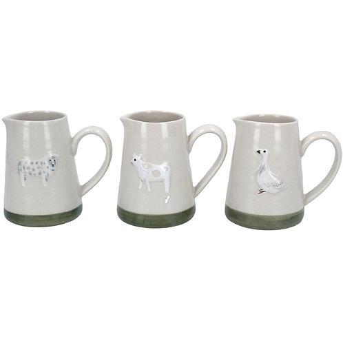 Ceramic Mini Jug -Sheep/Cow/Goose, 3 Assorted