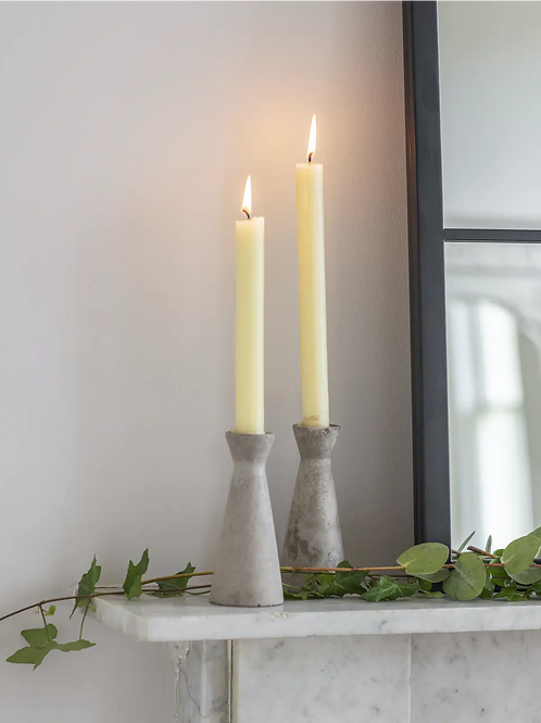 Cement Set of 2 Candleholders Tall