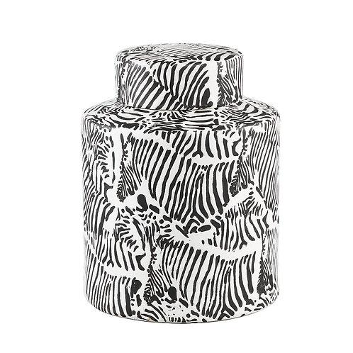 Zibra White ceramic farmer pot pattern round L