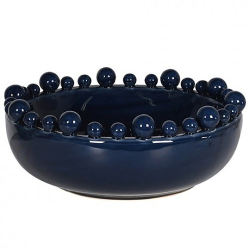 Dark Blue Bowl with Balls On Rim