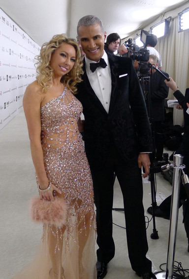 celebrity model artist monika jensen red carpet with jay manuel