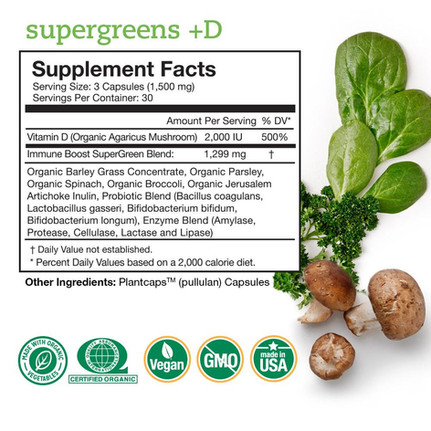 Supergreens +D supplement pure cbd facto