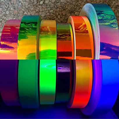 Awesome Tape Supply Jellyfish Wondermelon Lucky Charm Biohazard Yellow Ring of Fire Orange Morph Rainbow Morph Solid Morph Tape Blue Purple Indigo Sunrise Blue Sunset Tape Hoop Fishing Lure Tape Lure Supply Hoop Tape Supply Rhythmic Gymnastics Tape