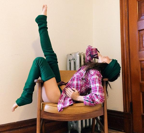 Green Fleece Leg Warmers