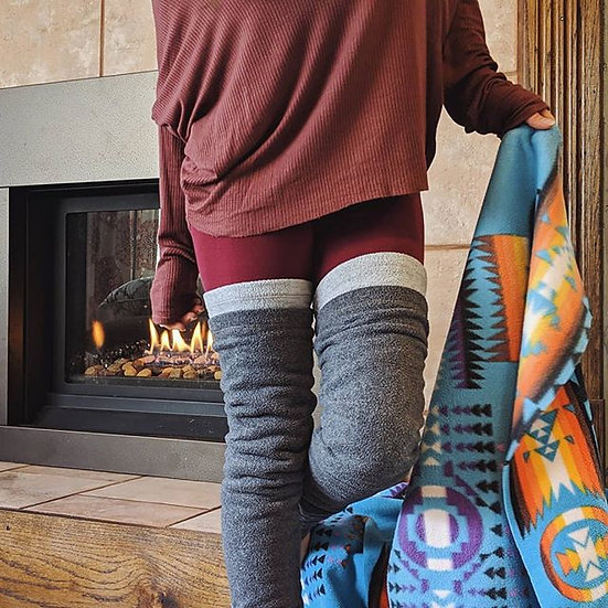 Gray Fleece Leg Warmers