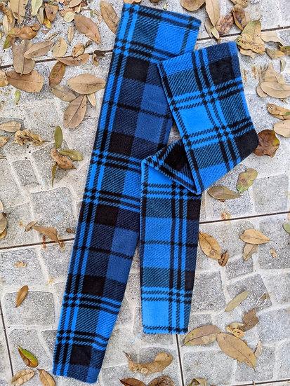 Blue Plaid Fleece Leg Warmers